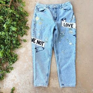 Topshop Embroidered Love Me (Not) Mom Jeans